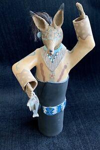 Susi Nagoda Bergquist signed ceramic Coyote Fisherman figure ~ Native American