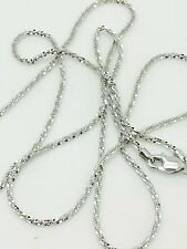 "14k Solid White Gold Diamond Cut Sparkle Necklace Chain 16"" 1.1mm"