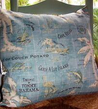 """Pillow Cover Tommy Bahama 18"""" Teal Blue Island  Surf tropical Coastal Outdoor"""
