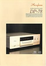 Accuphase dp-78 Catalogo Prospetto Catalogue datasheet brochure