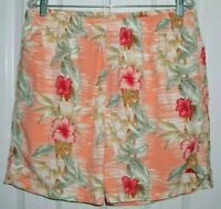 TOMMY BAHAMA RELAX MEN'S SWIM TRUNKS MARLIN LOGO PEACH FLORAL SIZE LARGE