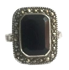 Vintage Sterling Silver Mourning Marcasite Faceted Art Deco Onyx Ring Size 6.75