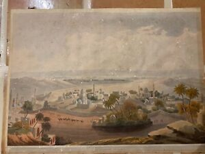 """The Pyramids at Cairo"" Henry Salt 1809 hand coloured aquatint 20.5x28"""