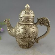 Chinese Miao Silver 8 Auspicious Symbol Dragon Handle Wine Flagon Kettle