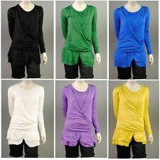 Figurbetonte Hüftlang Damenblusen,-Tops & -Shirts im Tuniken-Stil mit Baumwolle