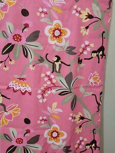 Pottery Barn Kids Emmy Curtain Pink Monkey floral pole pocket panel 50 x 63