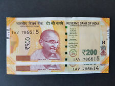 India Rs 200 Rupees 2017 GANDHI UNC consecutive UNC Pair with serial number 786