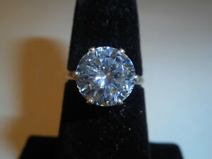 Vintage 4CT Round BRILLIANT CZ Crystal Sterling Silver Engagement Ring Sz 5 3/4