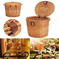 Wicker Bike Basket Shopping Picnic Front Box Carry Bicycle Handlebar Brown
