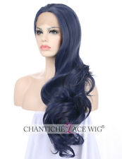 24''Blue Cosplay Wig Long Natural Wavy Lace Front Synthetic Wigs For White Women