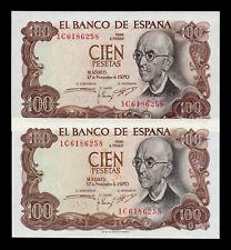 B-D-M España Error pareja 100 Pesetas Falla 1970 Pick 152 SC UNC