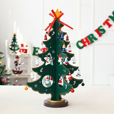 Artificial Wooden Christmas Tree with Mini Pendant Accessories Tabletop Decor Us
