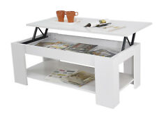 New Kimberly Lift Up Top Coffee Table with Hidden Storage & Shelf - White