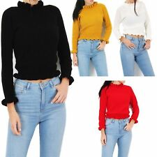 Ladies Knitted Jumper Top Women Ruffle Frill Hem Long Sleeve Fashion Tops  8-14