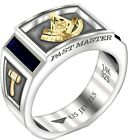 Two Tone 0.925 Sterling Silver Past Master Simulated Sapphire Masonic Ring Band