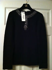 Chanel NEW TAGS 07A Black Cashmere Sweater Beaded Cristal Tulle trim FR34 -FR36