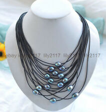 New 11-13mm Natural Black Rice South Sea Real Pearl Black leather necklace