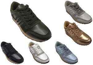 Footwear Sale Women Rockstud Lace Up Trainers Flat Walking Sports Ladies Shoes