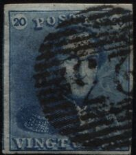 Belgio - 1849 - Leopoldo I° - 20 c. blu - Yvert n.2 - usato