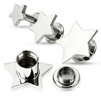 Pair Steel Large Star Screw Fit Ear Plugs Tunnels Earlets Gauges