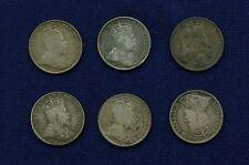 CANADA EDWARD VII  1902, 1902-H, 1904, 1906, 1907, & 1910  5 CENTS SILVER COINS