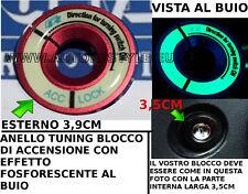 ANELLO ROSSO TUNING BLOCCO ACCENSIONE EFFETTO FOSFORESCENTE VW GOLF POLO PASSAT