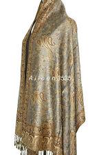 Gorgeous  Pashmina & Silk Shawl-Silver/Camel#A
