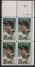 Scotts #2417 25c Lou Gehrig Plate Block of 4, Mnh