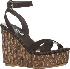 Miu Miu by Prada Camoscio Teak Leather Platform Wedge Heels 38.5 5XZ255 NIB