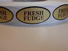FRESH FUDGE 1x2 oval  Sticker Label dull gold foil bkgd 250/rl