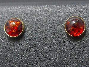 Ohrringe 585 GOLD Bernstein Amber Gelbgold earrings 14 Karat Ohrstecker