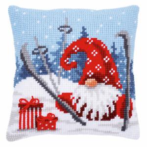 Ski Crash Gnome Printed chunky cross stitch cushion front kit 40x40cm  Vervaco
