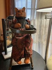 ANTIQUE SALESMAN SAMPLE DOLL HIGHCHAIR-PLAY TABLE PAINTED AWESOME WITH CAT