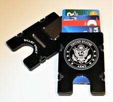 U.S. Army, Billet Aluminum Wallet/Credit Card Holder, RFID Protection, Black