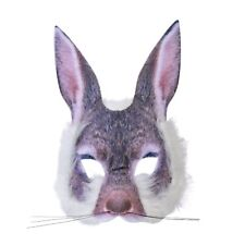 BUNNY HALF FACE MASK REALISTIC FUR BOOK WEEK ANIMAL childs adults fancy dress