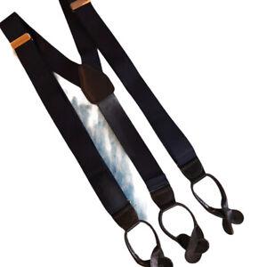 Pelican USA Braces Blue Nylon Black Leather Button Tab Adjustable Suspenders EUC