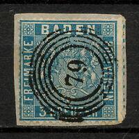 """(YYAR 068) Baden 1860 USED """"79"""" cancel Mich 10a Scott 12a Germany Prussian Blue"""
