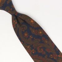 Gladson Mens Silk Madder Necktie Navy Blue Brown Green Red Paisley Floral Print