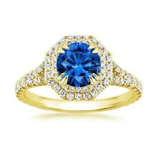 2.05 Ct Round Blue Sapphire Engagement Ring 14K Yellow Gold Real Diamond Size 6