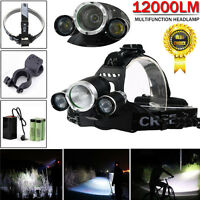 12000 Lumens XM-L 3 x T6 LED Cycling Headlamp Headlight   18650 Light Holder Bag