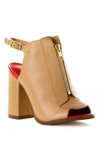 Kelsie Dagger Giulia Front zip sandals vachetta leather block heels shoes 7,5 US