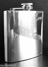 HIP FLASK - Stainless Steel - Secure Screw & Flip Cap - 6oz - Same Day Despatch