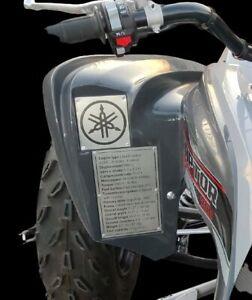 Yamaha Raptor 700 Fenders Warning Tags Custom Replacement.  2013-2020