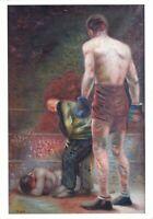 K. REDKO Winner boxer Nude muscular men jock athlete Russian modern postcard gay