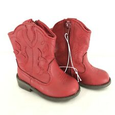 Cat & Jack Toddler Girls Arizona Cowboy Cowgirl Boots Red Zipper Floral Size 4