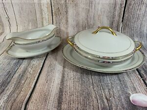 VTG 3 Piece Noritake Ceramic Serving Bowl With Lid, Serving Plate, & Gravy Boat