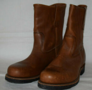 Red Wing Pecos Steel Toe Boots Brown Leather UK7.5 US8.5EEE Cord Sole USA