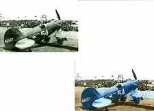 2: 4X6 WEDELL WILLIAMS #54 AIR SERVICE NR607 AIRPLANE B&W & COLORIZED PHOTOGRAPH