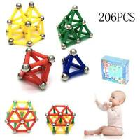 206Pcs Magnetic Building Blocks Multicolour Construction Building Toys Puzzle UK