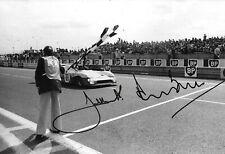 Jacky Ickx & Derek Bell SIGNED 12x8 , Gulf-Mirage GR8 , Le Mans Winners 1975